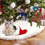 AerWo Faux Pelz Weihnachtsbaum Rock Herrlicher und eleganter Weißer Baum-Rock für Weiß-Schnee-Weihnachtsthema-Verzierung 122cm