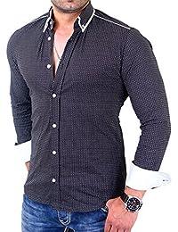 Reslad Herren Hemd Glencheck Button-Down-Kragen Langarmhemd RS-7208
