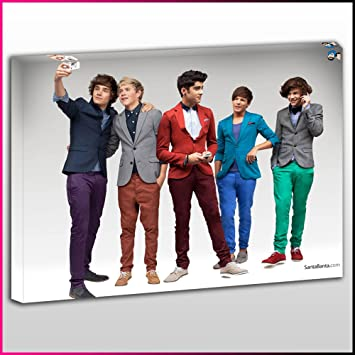 MU402 One Direction Members Framed Ready To Hang Canvas Print, Music