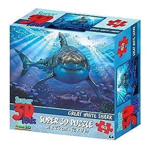 Howard HR13582 Robinson - Puzle para niños (63 Piezas), diseño de tiburón, Color Blanco