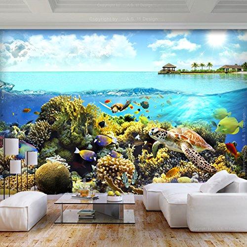 decomonkey   Fototapete Aquarium 400x280 cm   Tapete   Wandbild   Bild   Fototapeten   Tapeten   Wanddeko   Wandtapete   Wand Dekoration Schlafzimmer Wohnzimmer   Ozean Wasser Fische Pflanzen bunt Sommer Unterwasserwelt Meer Korallen Korallenriff