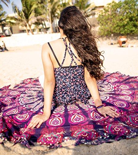 Wein Wonders Mandala rund Tapisserie Hippie indischen Mandala Beach Roundie Picknick Tisch Überwurf Hippie Bohemian Spread Boho Gypsy Baumwolle Tischdecke Strandtuch Meditation Runde Yoga Mat–182,9cm, Pink