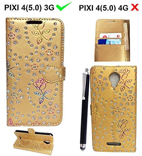 Alcatel Pixi 4 (5.0 inch) OT5010D Custodia, luxury Portafoglio Protettiva Custodia in pelle per Alcatel Pixi 4 ( 5'' ) 3G Cover Caso + Stylus pen ( Glitter Gold Book)