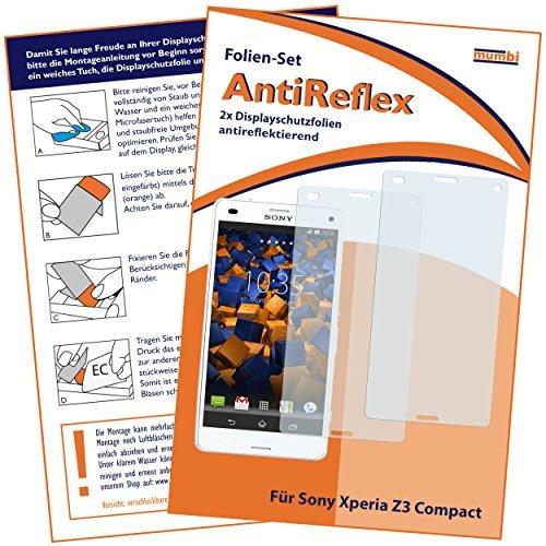 2x mumbi Displayschutzfolie für Sony Xperia Z3 Compact Schutzfolie AntiReflex matt (Z3 Compact Displayschutzfolie)