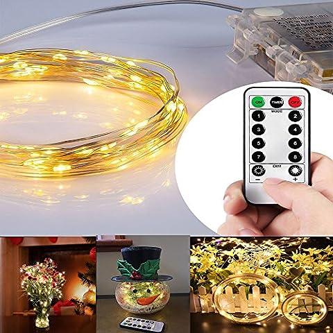 Moliker 10M 100 LED transparentes controlable a distancia cadena luces LED de la batería operada con temporizadores para el jardín de su uso en interiores / exteriores Garden, Wedding, Party (10 M Blanco cálido)