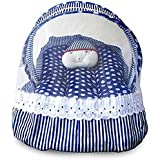 AVS Cotton Little Contemporary Cotton Baby Bedding Set with Foldable Mattress, Polka Print Mosquito Net and Pillow (Blue)