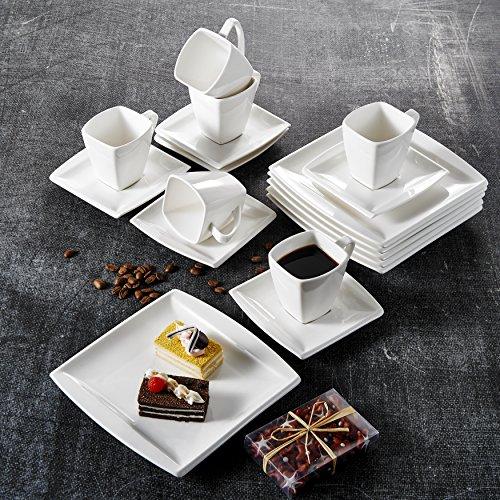 Malacasa, Serie Blance, 18 tlg. Set Cremeweiß Porzellan Kaffeeservice Geschirrset, mit 6 Stück...
