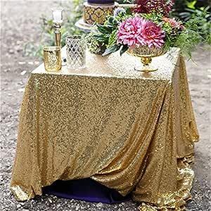 Trlyc 120cmx180cm Weihnachten Hochzeit Pailletten Tischdecke Gold