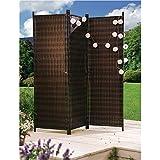 Sichtschutz aus Rattan, braun, Metallgestell, erweiterbar, ca. B183 x T30 x H183 cm