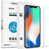 [Lot de 2 ]iPhone X/XS Protection Ecran Verre Trempé [Kit Installation Offert] OMOTON Film Protecteur iPhone X 2017/2018,[ 5.8 Pouces, 9H Dureté, Sans Bulles]