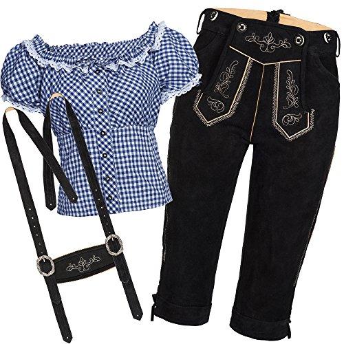 Trachtenset Damen Trachten Lederhose schwarz mit Trachtenbluse blau weiß kariert 42-44