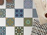 Fliesendeko Dekosticker | Fussboden Fliesen Sticker Aufkleber Folie selbstklebend Bad renovieren Küche Bodensticker | 20x20 cm Muster Ornament Orientalisches Mosaik - 9 Stück