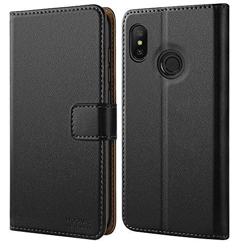 HOOMIL Handyhülle für Xiaomi Mi A2 Lite Hülle, Premium Leder Flip Schutzhülle für Xiaomi Mi A2 Lite/Xiaomi Redmi 6 Pro Tasche, Schwarz
