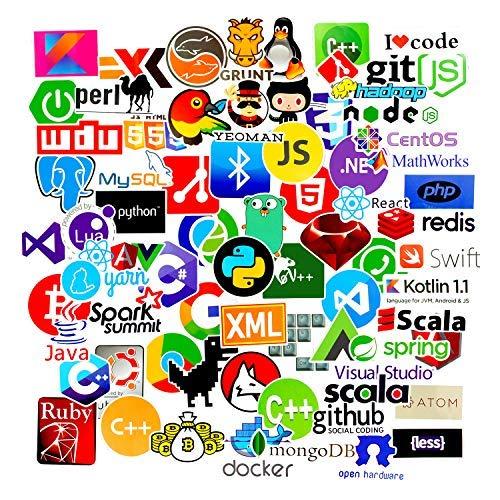 Sanmatic 72Pcs Laptop Aufkleber für Entwickler Programmiersprache gehören Aufkleber IT-Logo, C ++, Python, Linux, Swift, für Geeks, Ingenieure, Hacker, Geeks, Coder (Bitcoin-technologie)