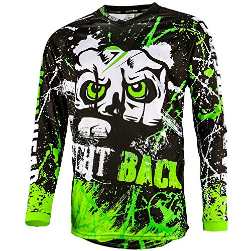 Broken Head MX Jersey Strike Back Grün - Langarm Funktions-Shirt Für Moto-Cross, BMX, Mountain Bike, Offroad - Größe L