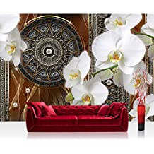 Papel Pintado Fotográfico Premium Plus fotográfico pintado–cuadro de pared–Ornamente–Papel pintado atrapasueños Mandala trenzado Red perlas líneas orquídea Oro–No. 2033, dorado, Fototapete 254x168cm | PREMIUM Blue Back