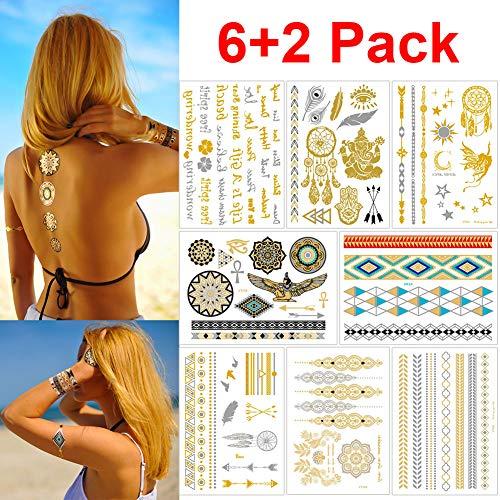Tatuaggi Temporanei,Temporaneo tattoo Moda Body Art Stickers,Tatuaggio Impermeabile Metallico Tatuaggio Temporaneo 8 Fogli in oro Argento Sticker Corpo Gioielli finti Tatuaggi per donne Ragazze