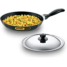 Hawkins Futura Nonstick Induction Compatible Frying Pan with Stainless Steel Lid, Capacity 1.5 Litre, Diameter 26 cm…