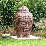 Oriental Galerie 1,2 Meter Buddha Kopf Groß Stein Figur Statue Gartenfigur Steinfigur Dekofigur Gartendeko Figuren