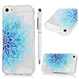iPhone SE Case iPhone 5S Case iPhone 5 Clear Case MAXFE.CO Flexible & Soft Crystal Clear TPU Silicone Case Shockproof Slim Fit Ultra Thin Rubber Case with Blue Mandala Totem Flower Painting for iPhone SE iPhone 5 iPhone 5S & One Touch Pen