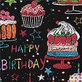 Schwarzer Stoff mit buntem Kuchen Törtchen Happy Birthday