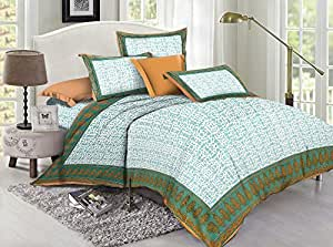 Lotus 110 TC Cotton Double Bed Sheet with 2 Pillow Covers - Queen, Green & Beige