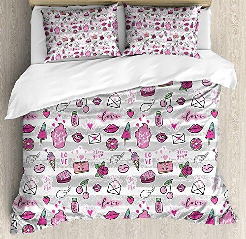 Soefipok Emoji 3-teiliges Bettwäscheset, Memphis Style Doodle Lip Star Erdbeer-Sprechblase auf Streifenmuster, 3-teiliges Tröster- / Qulit-Set mit 2 Kissenbezügen, Hellgrau-Weiß-Magenta (Memphis Tröster Set)