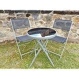 Negro 3piezas Muebles de jardín juego de Patio de jardín de metal para 2sillas plegables mesa