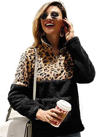 StarLifey Donna Peluche Felpe Inverno Caldo Maniche Lunghe Patchwork di Leopardo Tops Giacca Pullover con Tasche