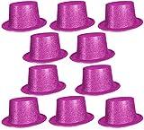 Cooler Hut Cowboyhut Zylinder Tänzer Disco Partyhut Disco Fasching Karneval Glitzer Glitzerstaub - Pink 15 er Set