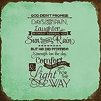 Dios didnt promesa días dolor risas dolor ni cuadrado cartel de metal oxidado marco