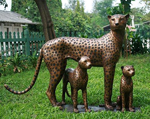 H. Packmor GmbH Bronzeskulptur lebensechte Leopardenfamilie Gartendekoration aus Bronze