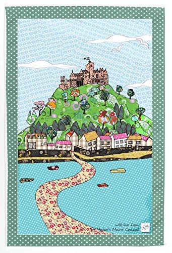 ST MICHAEL'S MOUNT CORNWALL GESCHIRRHANDTUCH von MOLLYMAC - Hübsche Küche Wohnkultur, Abwaschtuch. Küchentuch. Preiswertes Danke Geschenk für Hochzeit, Geburtstag, Weihnachten - Hergestellt in England -100% Baumwolle - 71 x 46 cm - St Michael's Mount Cornwall -