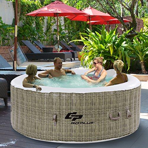 Costway vasca idromassaggio da esterno vasca spa gonfiabile per 4 persone con funzione di riscaldamento Ø180 cm (marrone)