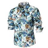 Binggong Herren Shirt, Persönlichkeit Gut Aussehend Jugend Männer Sommer Förderung Mode lässig Schlank Moderne Farbe Druck Revers Taste Langarm-T-Shirt Grundmodelle, Zum Bügeln Geeignet