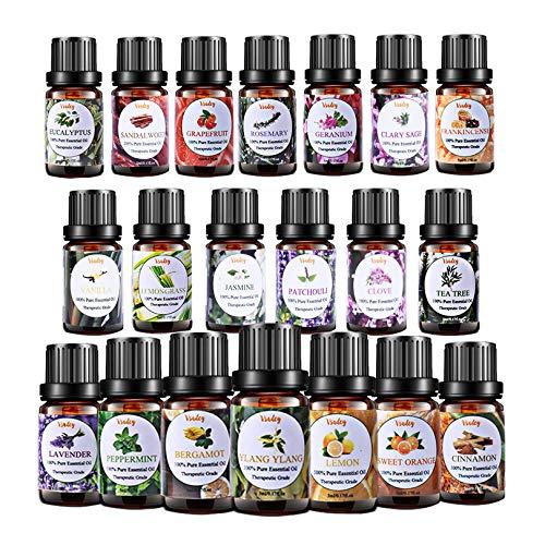 VSADEY Top 20 Set Regalo Oli Essenziali per Diffusori 100% Puri e Naturale Olio Essenziale di Aromaterapia per Diffusore Umidificatore Massaggio SPA