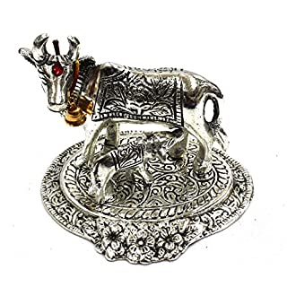 Amba Handicraft oxidised white white metal antique metal Ganesh traditional religious cow calf statue figurine for india temple and showpiece home work pooja diwali festival.X065