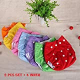 #7: LUKZER [Pack Of 2 With 4 Diaper Liners (Inner Cloths)] Reusable New Adjustable (for all sizes) Baby Washable Cloth Diaper Nappies for Babies of Ages 0 to 2 years, Random Color