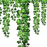 Efantur 12 Pz. Edera Artificiale Pianta Rampicante Ghirlanda Edera Foglie Verde Pianta da Interno ed Esterno per la Decorazione della Parete, Festa di Matrimonio, Casa, Terrazza e Giardino