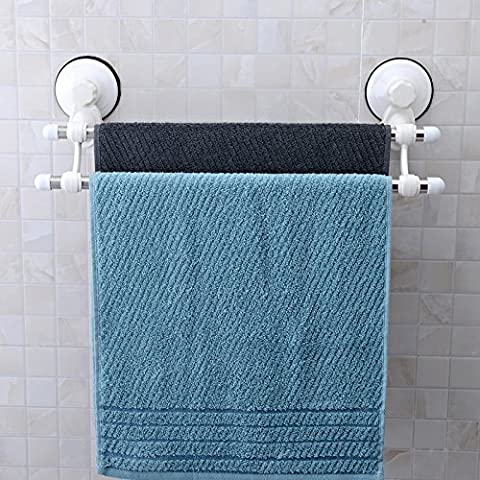 Towel bar, GETALL Strong suction double towel bar, Stainless Steel Towel Rack Hanger Holder Organize for Bathroom and Kitchen (2 bar towel rack)