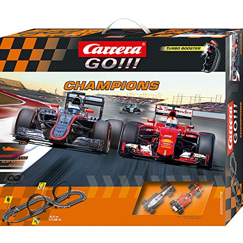 Carrera GO !!! - Pista per auto Formula 1, incl. McLaren-Honda MP4-30 di Fernando Alonso e Ferrari SF15-T di Vettel, scala 1:43