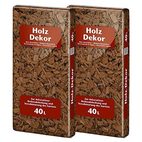 Floragard Mulch Universal Holzdekor braun 2x40 L • Rindenmulch • in brauner Färbung • zum Abdecken • dekorativer Bodenbelag • unterdrückt Unkrautwuchs • 80 L -