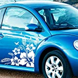 JINTORA Sticker - Autocollant - Jeu d'autocollants de Voiture Verre Hibiscus, 2 pièces. 60cm x 60cm Blanc - réglage Lunette arrière Voiture - Style de Voiture