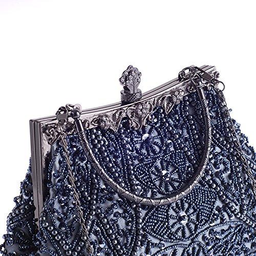 Hoxis CL1451 Borsetta vintage, morbida con perline e paillette, motivo decorativo floreale, struttura in metallo, chiusura a clip, interno in raso, Silver (argento) - CL1451 grigio