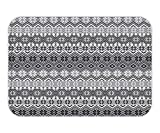 Doormat Grey Decor Set Nordic Snowflake Knit PatternScandinavian MotifTraditional Modern Print Home Deco Bathroom Accessorie Long Gray White Black.jpg