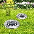 Solar TONBUX Erdspieß Licht, Aktualisiert Garten Weg Beleuchtung Outdoor Wasserdicht Warm Weiß mit 8LED (4Pack) für Auffahrt, Deck, Garten, Landschaft Beleuchtung