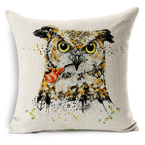 Decorative Pillowcases Embroidered Cartoon Printed Animal Standard Size 18x18 Throw Pillow Covers Linen Square Throw Pillow Case Set Cushion Cover Cotton for Sofa,Bed,Chair,Auto Seat,Office Seat,Home Decorative (D)