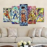 QJXX Leinwanddrucke Dragon Ball Z Bild Auf Leinwand Gedruckt 5 Panels Drucken Super Saiyan Wandkunst Bilddrucke Leinwände Für Wohnzimmer Dekoration,B,30×50Cm×2+30×70Cm×2+30×80Cm×1