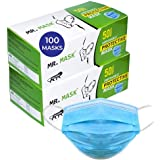 Roseate Mr Mask Disposable (Pack of 100) with Nose Pin Non-Woven Anti Pollution Surgical 3Ply Face Mask with Triple Filtratio