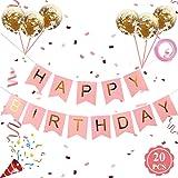 Grattis på födelsedagen banderoller, grattis på födelsedagen banderoller med guld latex konfettiballonger, rosa grattis på fö